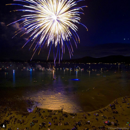 July 3 fireworks in kings Beach North Lake Tahoe California